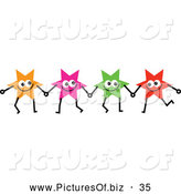 Vector Clipart of a Team of Colorful Star Badges Holding Hands by Prawny