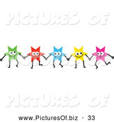 Vector Clipart of a Team of Colorful Stars Holding Hands, on White by Prawny