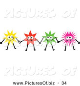 Vector Clipart of a Team of Happy Colorful Stars Holding Hands by Prawny