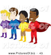 Vector Clipart of a Team of Male and Female Hispanic and Caucasian Super Heroes with Capes by Rosie Piter