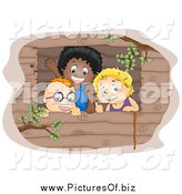 Vector Clipart of a Three Boys Waving from a Tree House Window by BNP Design Studio