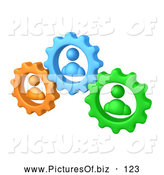 September 26th, 2013: Vector Clipart of a Trio of Green, Orange and Blue People Inside Gears, Working Together to Solve a Problem by 3poD