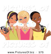 Vector Clipart of a Trio of Young Fashionable Diverse Girlfriends Posing and Smiling by Monica