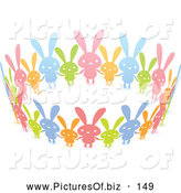 Vector Clipart of a United Circle of Colorful Paper Rabbits Holding Hands, on White by Qiun