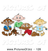 Vector Clipart of a Varied Group of Black, White, Indian and Asian Babies by Pams Clipart