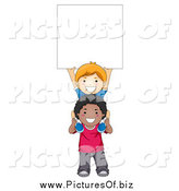Vector Clipart of a White and Black School Boys Holding up a Blank Sign by BNP Design Studio