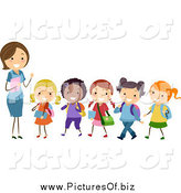 Vector Clipart of a White Female Stick Teacher Leading a Line of Diverse Stick Students by BNP Design Studio