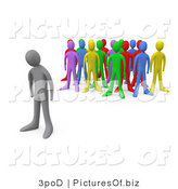 Vector Clipart of an Excluded Person Standing Alone near a Crowd of Different Colored People, Symbolizing Depression, Bullying, Standing out from the Crowd, Etc by 3poD