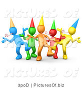 Vector Clipart of Colorful 3d Party People Dancing by 3poD