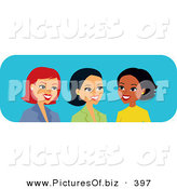 Vector Clipart of Diverse Caucasian, Hispanic and Black Female Coworkers Talking by Monica