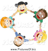 Vector Clipart of Diverse Children Holding Hands and Looking up by BNP Design Studio