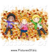 Vector Clipart of Diverse Children Laying in a Pile of Autumn Leaves by BNP Design Studio