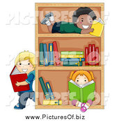 February 26th, 2014: Vector Clipart of Diverse Children Reading Books by a Shelf by BNP Design Studio