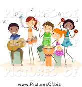 Vector Clipart of Diverse Happy Beach People Playing Music by BNP Design Studio