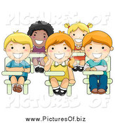 Vector Clipart of Diverse Happy School Children Sitting at Their Desks by BNP Design Studio