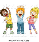Vector Clipart of Diverse Happy School Children Stretching by BNP Design Studio