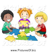 Vector Clipart of Diverse Happy School Kids Assembling a Puzzle by BNP Design Studio