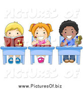 Vector Clipart of Diverse Happy School Kids Doing Work at Their Desks by BNP Design Studio