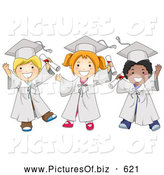 Vector Clipart of Diverse Happy School Kids in Graduation Caps and Gowns by BNP Design Studio