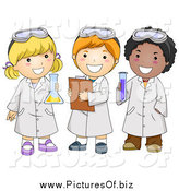 Vector Clipart of Diverse Happy School Kids in Science Class by BNP Design Studio
