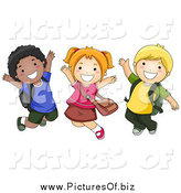 January 20th, 2014: Vector Clipart of Diverse Happy School Kids Jumping by BNP Design Studio
