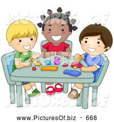 Vector Clipart of Diverse Happy School Kids Molding Clay in Art Class by BNP Design Studio