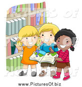 Vector Clipart of Diverse Happy School Kids Picking Books by BNP Design Studio