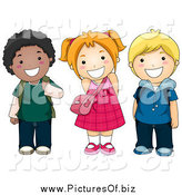 Vector Clipart of Diverse Happy School Kids Smiling by BNP Design Studio