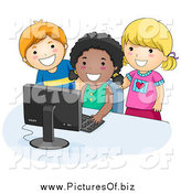 Vector Clipart of Diverse Happy School Kids Using a Computer by BNP Design Studio