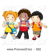 Vector Clipart of Diverse Happy School Kids Walking by BNP Design Studio