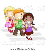 Vector Clipart of Diverse Happy School Kids Walking in Line on a Crosswalk by BNP Design Studio