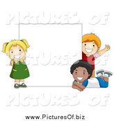 Vector Clipart of Diverse Happy School Kids with a Blank Sign by BNP Design Studio