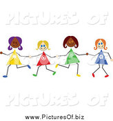January 14th, 2014: Vector Clipart of Diverse Happy Stick Girls Holding Hands by Prawny