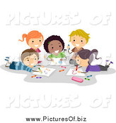 Vector Clipart of Diverse Happy Stick Students Coloring Together by BNP Design Studio