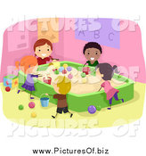 Vector Clipart of Diverse Happy Stick Students Playing in a Sand Box by BNP Design Studio