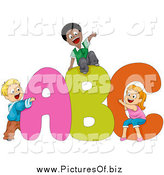 Vector Clipart of Diverse Kids Playing on ABC by BNP Design Studio