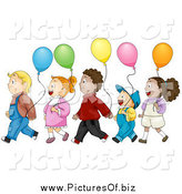 Vector Clipart of Diverse Kids with Balloons, Walking in Line by BNP Design Studio