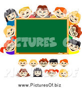 Vector Clipart of Diverse School Children and a Chalk Board by Vector Tradition SM