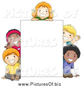 Vector Clipart of Diverse School Children Around a Blank Sign by BNP Design Studio