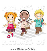 Vector Clipart of Diverse School Children Crossing a Street by BNP Design Studio