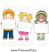 Vector Clipart of Diverse School Children Holding Blank Signs by BNP Design Studio