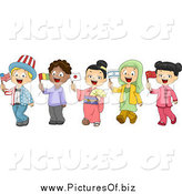 Vector Clipart of Diverse School Children Holding Flags and Dressed to Represent Different Nations by BNP Design Studio