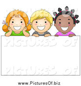 May 2nd, 2014: Vector Clipart of Diverse School Children over a Blank Sign by BNP Design Studio