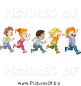 Vector Clipart of Diverse School Children Running a Marathon by BNP Design Studio