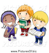 Vector Clipart of Diverse School Children Standing with Books by BNP Design Studio