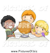 Vector Clipart of Diverse School Children Studying a Globe by BNP Design Studio