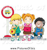 Vector Clipart of Diverse School Children Waiting at a Bus Stop by BNP Design Studio