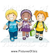 Vector Clipart of Diverse School Children Walking on a Crosswalk by BNP Design Studio