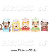 Vector Clipart of Diverse School Children Wearing Paper Hats by BNP Design Studio