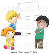 Vector Clipart of Diverse School Children with Blank Signs by BNP Design Studio
